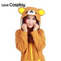 Wholesale Japanese Anime Winter Coat Rilakkuma Cute Animal Hoodies With Ears Cosplay Costume Zip Hoody Sweatshirt Jacket S M L XL
