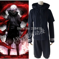 Wholesale Adult Coser Halloween Japanese Anime Tokyo Ghoul Costumes Cosplay Kaneki Ken Terror Black T shirt Coat Pant Colthes S XXL