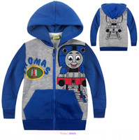 Wholesale 2015 New Children Hoodies Fashion Kid Thomas Blue Coat Thick Style Children Sweatshirt With Cap Kid s Jackets Coats Boys