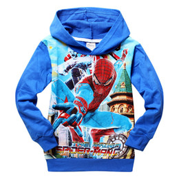 Wholesale Kids Spiderman Sweaters - 2015 new Boys clothes hoodie sweater spiderman Spider-Man cartoon kids hoodies children's long-sleeved clothes free shipping