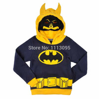 batman hoody - Wholesales Little Boys Autumn Outwear Jacket Batman Autumn Hoody Kid s Cartoon Hooded Coat