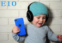 Wholesale Crochet Hat Headphone - Free shipping Crochet Baby Hat Handmade Headphone Beanie cap crochet newborn photography props 100% cotton