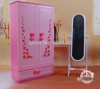 doll accessories - Dollhouse mini Furniture Pink Chest Closet Wardrobe Mirror Set for barbie kurhn doll Girls Gift