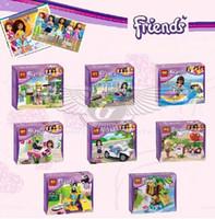Cheap BELA 8pcs lot girls Friends building block toys girls favor gift motor boat swimming pool pupu car deduction DIY gift for kid