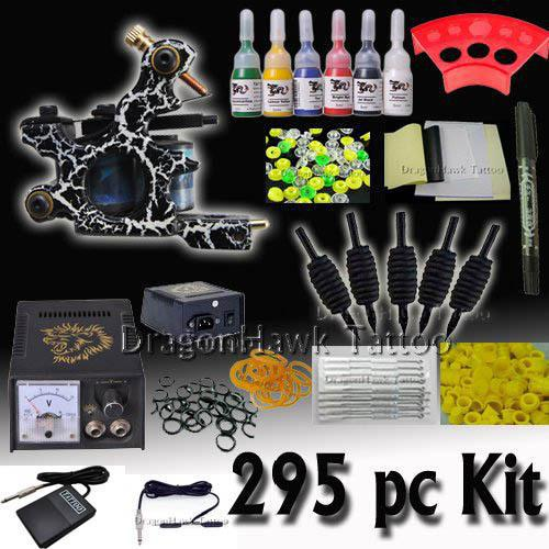 Beginner cheap tattoo starter kits guns machines 7 ink for Cheap tattoo ink