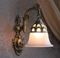 antique glass sconce shade - wall sconce Indoor Wall lamps Mediterranean Antique bronze Wall Lighting frosted glass shade E26or E27 lampholder