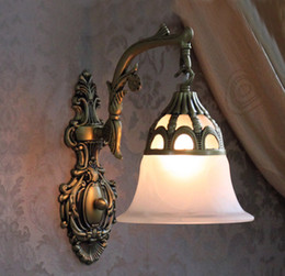 Wholesale wall sconce Indoor Wall lamps Mediterranean Antique bronze Wall Lighting frosted glass shade E26or E27 lampholder