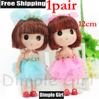 Cheap 1PAIR 12cm Kawaii Cute In Dress Clothes Mini Baby Girl Dolls & Accessories Toys For Children Party Favors Birthday Gift Souvenir