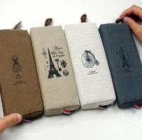 Cheap Free shipping Fashion Boutique Vintage Paris Eiffel Tower Linen Coin Purse Pencil Case Zipper Storage Pen Bag