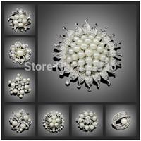no minimum order - Cheapest High quality Platinum Silver Flower Five Cream White Pearl Brooch Bouquet for wedding No minimum order