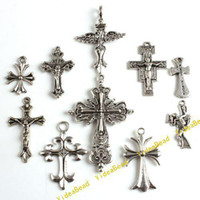 Wholesale 100 New Mixed Assorted Cross Tibetan Silver Pandent Metal Charms Pendants In Stock Fit Chains