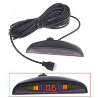 Wholesale 4 Parking Sensors LED Display Car Parking Sensor System Car Reverse Backup Radar Kit black red grey white sliver blue K369