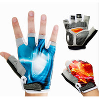 Wholesale 2015 Man WoMen Silicone Gel Cycling Gloves Pro Half Finger Earthquake Racing Bike Gloves Black Racing Bicycle Sports Gloves