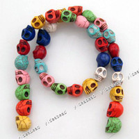 Wholesale 65pcs New Fashion Mixed Skull Turquoise Gemstone Loose Beads Fit Bracelet Necklace DIY