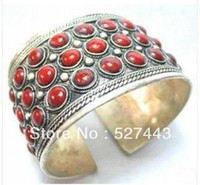 Cheap Wholesale free shipping >>Rare tibet silver inlay red jade carved wave woman's tribe cuff bracelet Bangle