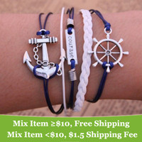anchor jewelry - new hot Fashion Vintage Anchors Rudder Rectangle Multilayer leather bracelet jewelry for women M16