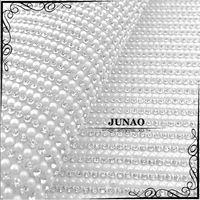 pearl trim - Ivory Pearl Clear Rhinestone Bead Trim Iron On Diamond Mesh Bridal Strass Crystal Applique Roll For Garment Wedding Decoration