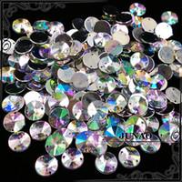 achat en gros de acrylique pierre à coudre-Gros-10mm Cristal AB Rivoli strass Coudre Flatback acrylique Gems rondes Strass pierres de cristal pour les vêtements Décorations Dress