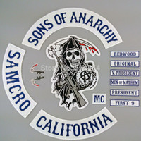 accessories bikers - Hot Selling Original Sons of Anarchy Embroidery Twill Biker Patches for Jacket Back Full Size and Full Set Motorcycle