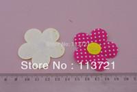 assorted center - cm quot Assorted Color Felt Center Five petaled Polka Dot Printing Fabric Flower Patches Applique kids