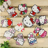 Wholesale mixed styles of Hello Kitty Iron On Patches Made of Cloth Guaranteed High Quality Appliques sew on