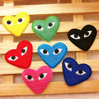 Wholesale quot Heart quot shaped eye Embroidered patch iron on Motif Applique garment embroidery patches DIY