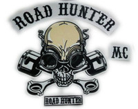 "Quilt Accessories 158 Iron-On Wholesale-MC ROAD HUNTER SKULL PISTONS LARGE PATCH 14""x 12"" for BIKER LEATHER JACKET BACK wholesale Free Shipping"