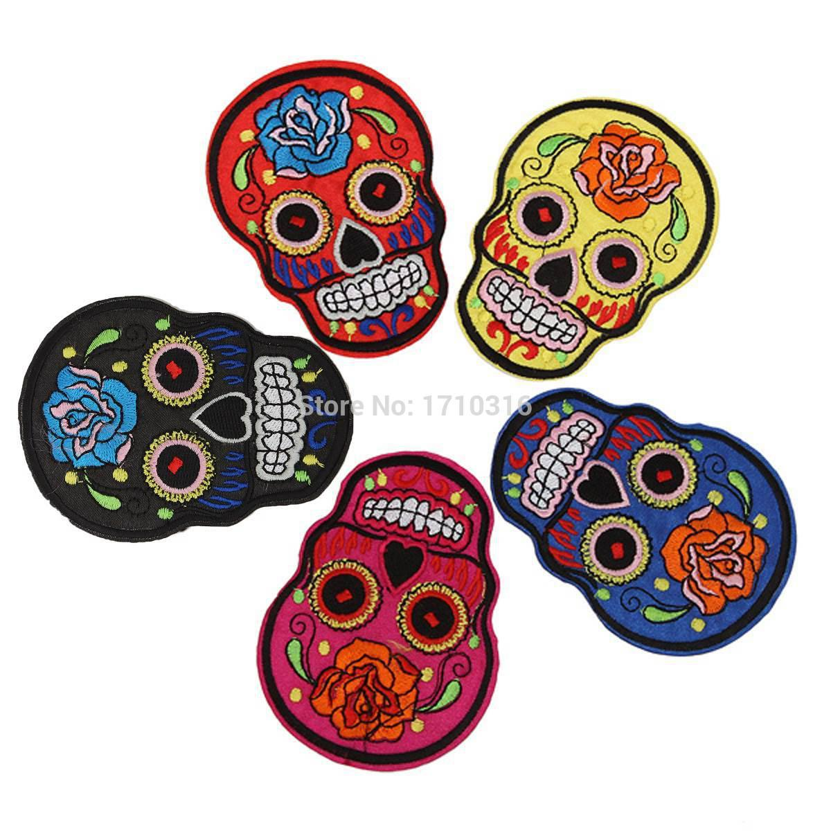 Wholesale-2015 Newest 7cmx10.5cm FLOWERED SKULLS Patches 5 COLOURS Embroidered Iron On Patch Goth punk Rockabilly Skeleton psychedelic
