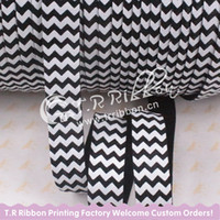 Wholesale New come White chevron printed elastic ribbon black quot yards