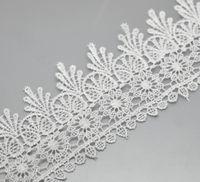 stretch lace trim - Yards White Stretch Floral Terylene Lace Edge Trim Embellishment Handmade DIY Decorative For Wedding Dress