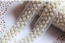 Wholesale-10Yards 4cm Pearl Rhinestone Beaded Lace Trim Vintage Mesh Fabric Paillette Chemical Lace Wedding Dress Dentelle Applique AC0206