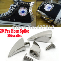 metal claw spikes - mm Punk Metal Dragon Claw Horn Shark Bullet Silver Rivet Spike Studs Spots DIY Leathercraft