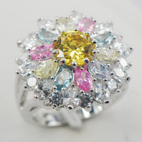 Cheap Citrine Pink Sapphire Morganite Aquamarine White Sapphire 925 Sterling Silver Ring Size 6 7 8 9 10 11 A01