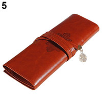 accessories cosmetic case - Women Fashion Designer Vintage Retro Roll Leather Make up Cosmetic Pen Pencil Case Pouch Purse Bag Accessories For lady