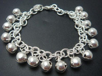 Traditional Charm Link, Chain Silver Hot sale 925 Silver multi baby's bells Links Chain charms bracelet,10pcs lot