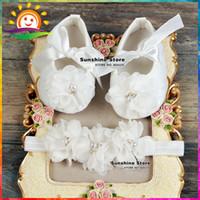 bebe booties - Ivory Christening Lace baby booties sapato bebe menina zapatillas festa baptism baby girl shoes Headbands set B1932 set