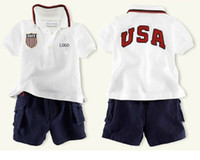 kids sweat suits - cheap polo kids summer fashion baby boys girls cotton short sleeved t shirt Shorts set letters USA sweat suit Childrens