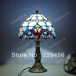 Tiffany Table Lamp Classic 8 Inch European Baroque Stained Glass Bedroom Decoration Lighting E27 110-240V