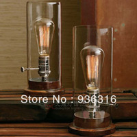 antique copper table lamps - E27 W Edison bulb lamp Vintage glass cover table lamp fashion solid wood antique copper nostalgic lamp dimming