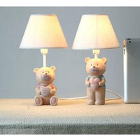 bear lampshade - Lovely Bear Resin Base Fabric Lampshade Baby Kids Children Decoration Table Lamps Desk Lights Bedroom Beside Lighting