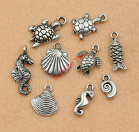 Wholesale Mixed Tibetan Silver Plated Ocean Hippocampus Turtle Shells Fish Charms Pendants Jewelry Making Diy Accessories Handmade M020