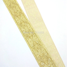 Wholesale 3 cm mm golden light Gold Curtain French lily National Jacquard Ribbon Embroidery Woven Webbing blink filigree trim