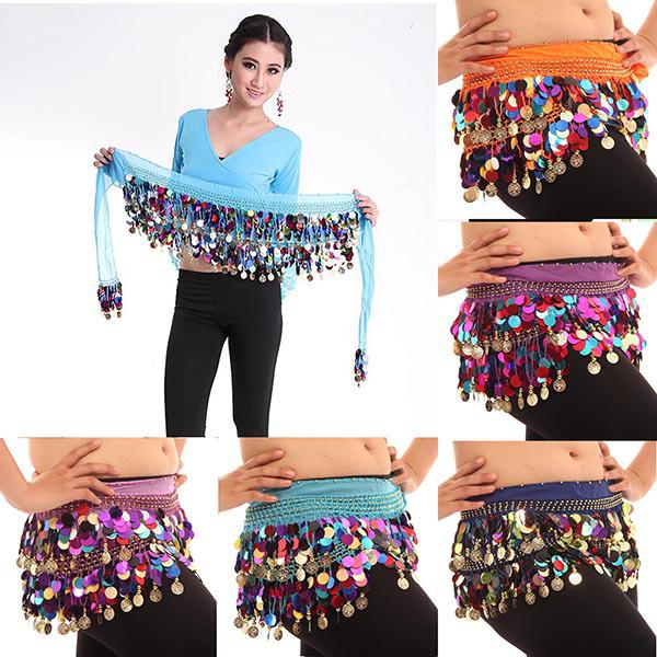 Wholesale Colorful Sequin Belly Dance Hips Scarf Chiffon