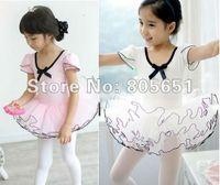 Cheap Wholesale-Retail-Freeshipping-New Girls Pink White Leotard Ballet Tutu Skate Dance Birthday Party Skirt Dress SZ3-8Y Made IN China