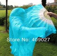 Wholesale pair New Belly Dance Bamboo Long Silk Fans Veils Colors Hand Made Silk Dance Fan m