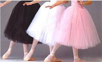 ballet performance dress - Adult long design ballet skirt white tutu skirts hard tulle dress costume puff skirt performance dress