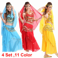 Cheap Wholesale-Belly Dance Costume Bollywood Costume Indian Dress bellydance Dress Womens Belly Dancing Costume Sets Tribal Skirt 4pcs 1set