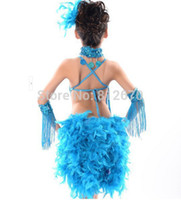 ballroom dance competitions - New Children Kids Sequin Feather Fringe Stage Performance Competition Ballroom Dance Costume Latin Dance Dress For Girls XC