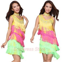 Wholesale-Women Latin Dance Dress Women Ballroom Dancing Dresses Latin Dance Costume Dance Latin Dresses Tango Dress Samba Colorful Fringe
