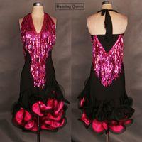 belly dance custom - High End Women Latin Dance Dress Black Custom Sequins Tassel Lady Girls Latin Ballroom Dancing Dresses Regatas Femininas